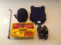 Horse riding kit inc boots and helmet