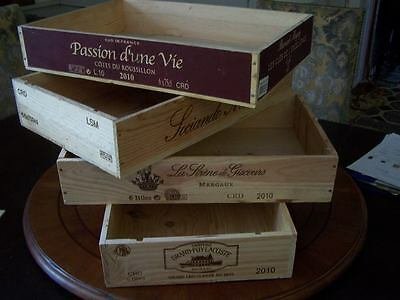 3 X FRENCH FLAT WOODEN WINE CRATE BOX BOXES - DINNER LUNCH SUPPER TRAY HOLDER.