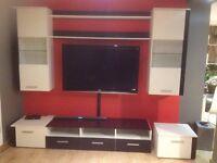 Tv stand and storage set black and white Matt high gloss wall display modern