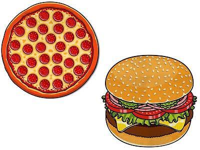 Riesiges 5' Pizza / Hamburger Strand Decke Neuheit Urlaub Schwimm-Handtuch Reise