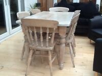 Distressed limed solid oak table and 6 chairs