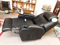 Black leather recline rock swivel heated chair LOW COST MOVES STALYBRIDGE SK15 3DN