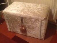 Upcycled Crushed Velvet Shabby Chic Ottoman / Blanket Box