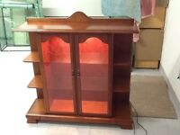 Wood dIsplay cabinet with lighting for lounge