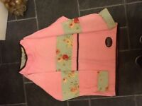 Lady's pink &a green patterned Chinese house jumper