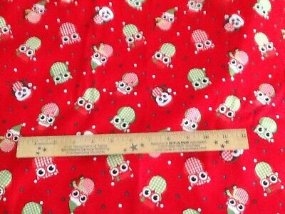 COTTON FABRIC CHRISTMAS  OWLS BY THE YARD - Christmas Owls