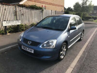 2005 HONDA CIVIC 1.6-i-VTEC SE 5DR, AUTO GEARBOX, LONG MOT, 2 OWNERS, ONLY 58K GUARENTEED MILAGE,
