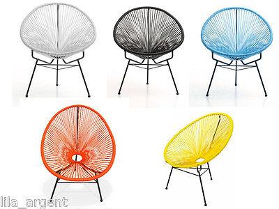 fauteuil chaise fil mexico acapulco scoubidou jardin et int rieur 5 couleurs sortir de l 39 auberge. Black Bedroom Furniture Sets. Home Design Ideas