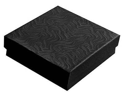 100 Black Swirl Cotton Filled Jewelry Gift Boxes 3 12 X 3 12 X 1