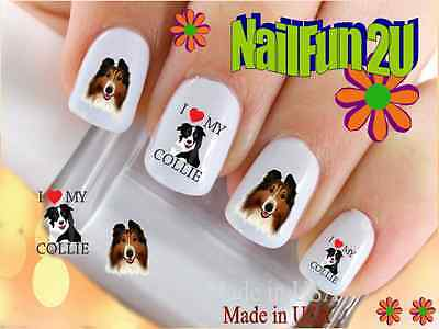 "RTG Set#125 DOG BREED ""Collie I Love"" WaterSlide Decals Nail Art Transfers Salon"