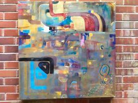 "Abstract wall art:Golden dream ""An original hand painted canvas 90x90cm with metallic paint"