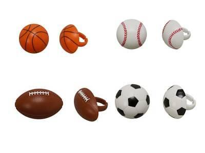 Sports Baseball, Basketball, Football, & Soccer Cupcake Rings Toppers - 24 Count