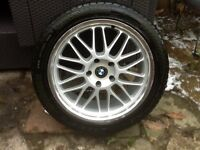 """BMW wheels - 4 X 18"""" alloys with polished rims, bolts and locking nuts. Tyres 245/45 18 - worn"""
