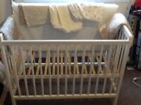 Baby cot and bedding and bouncy chair for sale