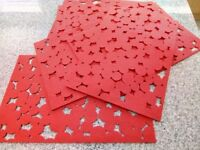 6 Extra Large Bright Bus Red Table / Placemats