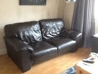 2 matching dark brown leather sofas. 2 &3 seaters