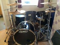 Black Mapex 5 Piece Drum Kit for sale