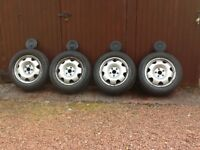 VW Transporter steel wheels with tyres and caps
