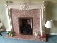 Fireplace pink marble with gas/coal fire insert