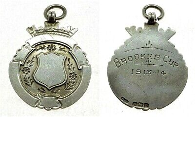 ANTIQUE SOLID SILVER ALBERT POCKET WATCH CHAIN FOB BROOKS CUP 1913-14