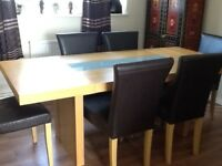 Oblong dining table and 6 chairs