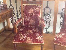 A pair of antique upholstered lady's and gentlemans chairs, late Victorian / Edwardian.