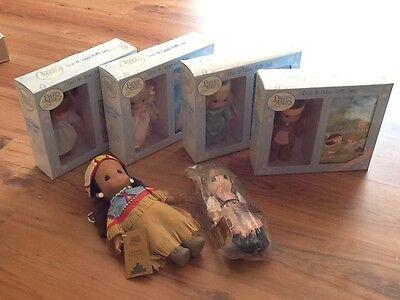 6 NIB Precious Moments Doll Lot Indian Swedish Girl Angel  GB