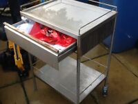 Stainless steel trolley with drawer £20 make ideal chopping table for takeaway shop