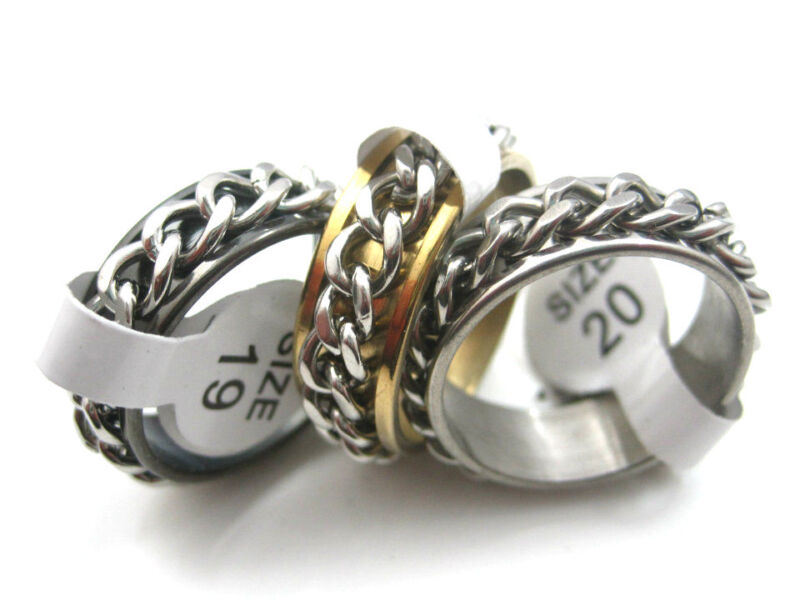 100pcs mixed gold silver black stainless steel chain spinner fashion rings