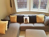 AMAZING COMFY CHAISE SOFA WITH SEUDE PILLOWS