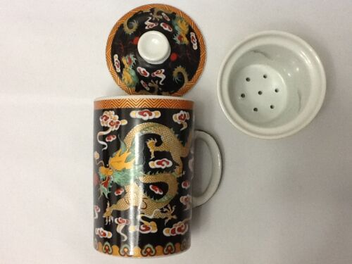 Chinese Porcelain Tea Cup Handled Infuser Strainer with Lid 10 oz Dragon Black
