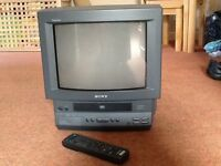 """Sony Trinitron TV with built in video, 14"""" screen"""