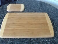 Brand New Solid Bamboo large and small chopping boards, price is for both.