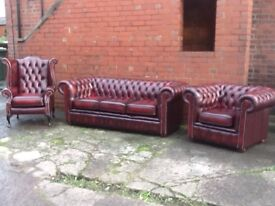 LEATHER CHESTERFIELD 3 PIECE SUITE OXBLOOD RED LEATHER QUALITY TIMELESS FURNITURE CAN DELIVER