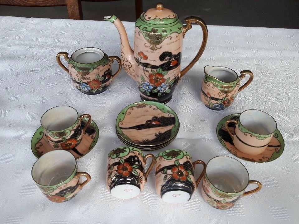 Hand painted vintage coffee set
