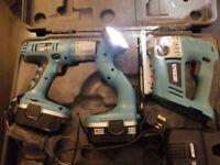 18v 2.0Ah Erbauer cordless kit used.. Drill, Jigsaw and Spotlight