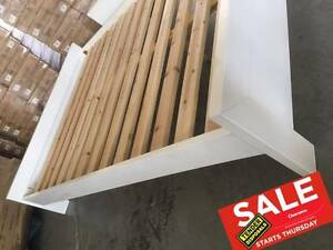 BOXED!! High gloss QUEEN size white low bed frame solid slats! Springwood Logan Area Preview