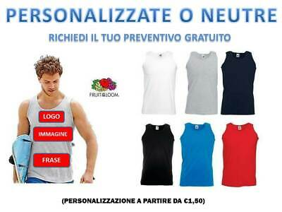 CANOTTA UOMO MAGLIETTA FRUIT OF THE LOOM T SHIRT PERSONALIZZABILE CANOTTIERA
