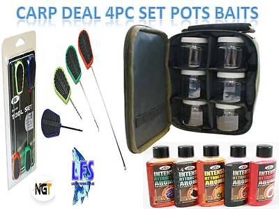 Carp Fishing 6 Boilie Bait Glug Pots + Bag + 4PC Baiting Needle Set + 5 Additive