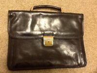 Smith and canova black leather briefcase