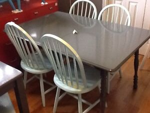 Large grey table with 4 chairs