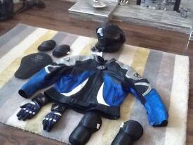 Ladies leather motor bike jacket & helmet plus gluves