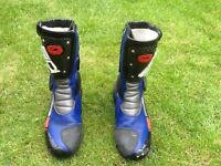 Male, Size 9, SIDI, blue, black, grey and white Motorbike Boots.