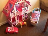 Barbie calafornia dream house barbie cruise ship barbie car and horse