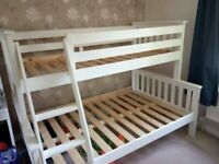BEST SELLING EVER TRIO WOODEN BUNK BED FRAME DOUBLE BOTTOM & SINGLE TOP HIGH QUALITY
