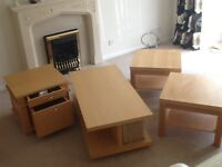 Oak coffee table and lamp tables for sale. All in very good condition.