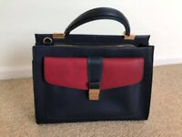 Accessorize Blue Leather Ladies Handbag Tote Bag *As New*