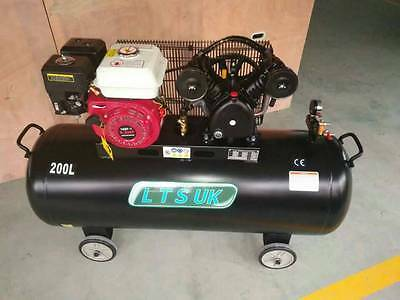 AIR COMPRESSOR 200 LTR  PETROL ENGINE 5.5 HP 2 year uk warranty