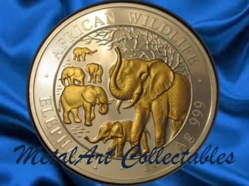 2008 SOMALIA ELEPHANT RARE GILDED 1 OZ SILVER  - AFRICAN WILDLIFE - SOMALI