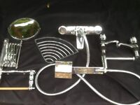 collection of chrome bathroom fittings,mixer tap and more